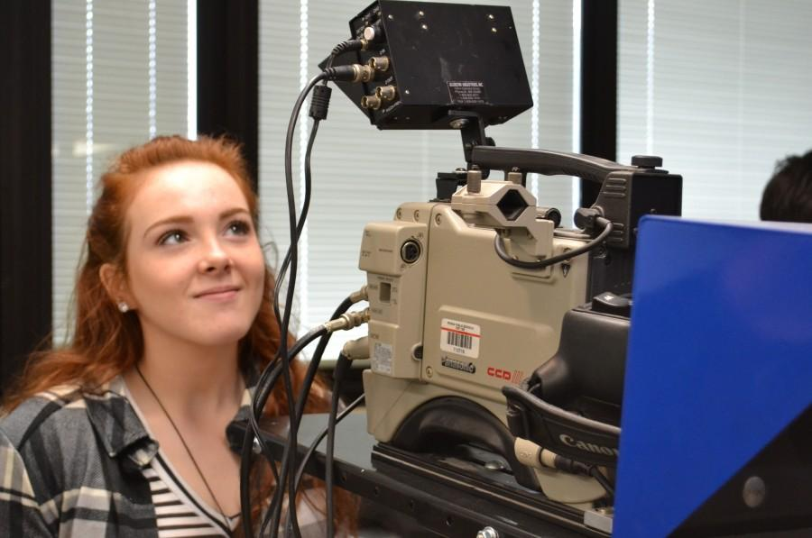 Cameron Marlatt of Richwoods High School in Peoria operates one of the four Panasonic cameras that broadcast teacher Dan Kerns is willing to donate to another school. Other equipment is also available for a school looking to enhance its broadcast offerings.