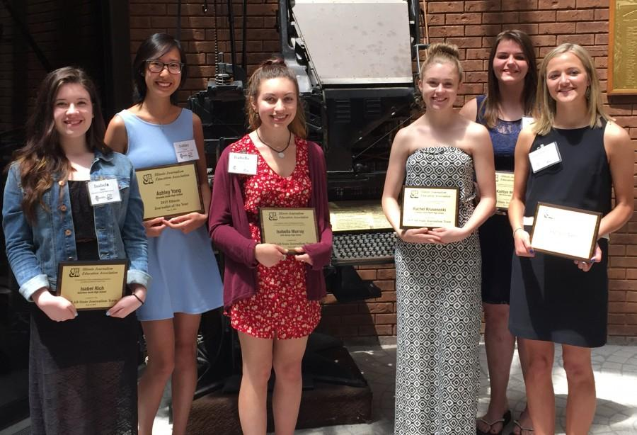 The IJEA and Illinois Press Foundation recognized the achievements of some of the state's top high school journalists with an awards luncheon Saturday in Springfield at the offices of The State Journal-Register. Honored were Illinois Journalist of the Year Ashley Yong and members of the IJEA All-State Journalism Team. Not all honorees were able to attend the event. From left: Isabel Rich, Belvidere North High School; Ashley Yong, Hinsdale South High School; Isabella Murray, John Hersey High School; Rachel Krusenoski, Downers Grove North High School; Kaitlyn Morrill, Elk Grove High School; Gabrielle Cano, Kaneland High School.