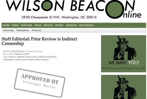 A screenshot of the headline and graphic of The Wilson Beacon's editorial against prior review as it appeared online Aug. 31, 2015. Graphic by Ellice Ellis of The Wilson Beacon.
