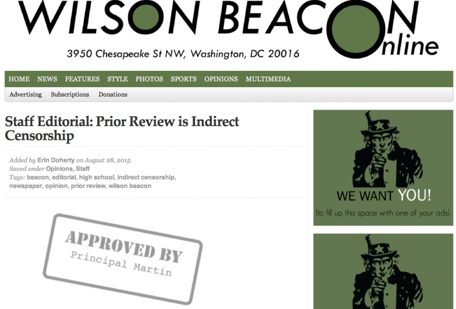 A screenshot of the headline and graphic of The Wilson Beacons editorial against prior review as it appeared online Aug. 31, 2015. Graphic by Ellice Ellis of The Wilson Beacon.