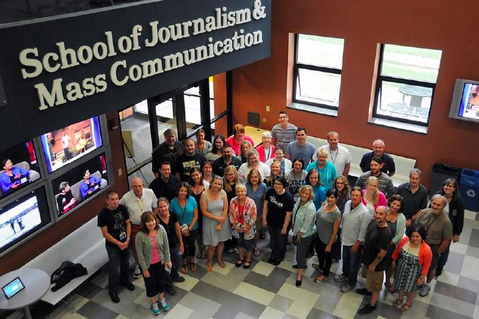 Institute fellows and faculty members assemble for a photo at the 2015 ASNE Reynolds High School Journalism Institute at Kent State University in July. Faculty for the Kent State program included IJEA board member Susan Tantillo and former board member Candace Perkins Bowen, now director of Kent State's Center for Scholastic Journalism.