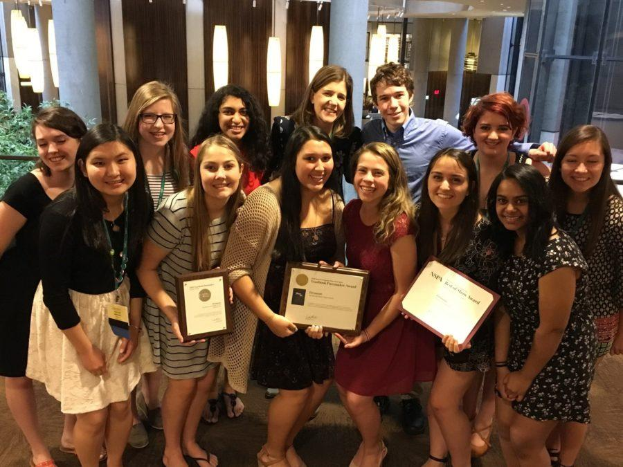 The staff of the Glenbrook South High School Yearbook enjoys its 2016 Pacemaker while in Los Angeles for the JEA/NSPA Convention.
