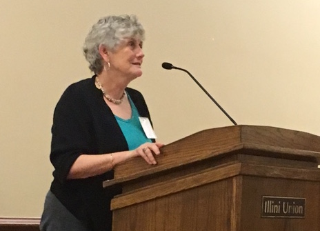 Linda Jones, the 2016 Friend of Scholastic Journalism, accepts her award during the adviser's luncheon at the University of Illinois Urbana-Champaign at the IJEA Fall Conference on Sept. 16.