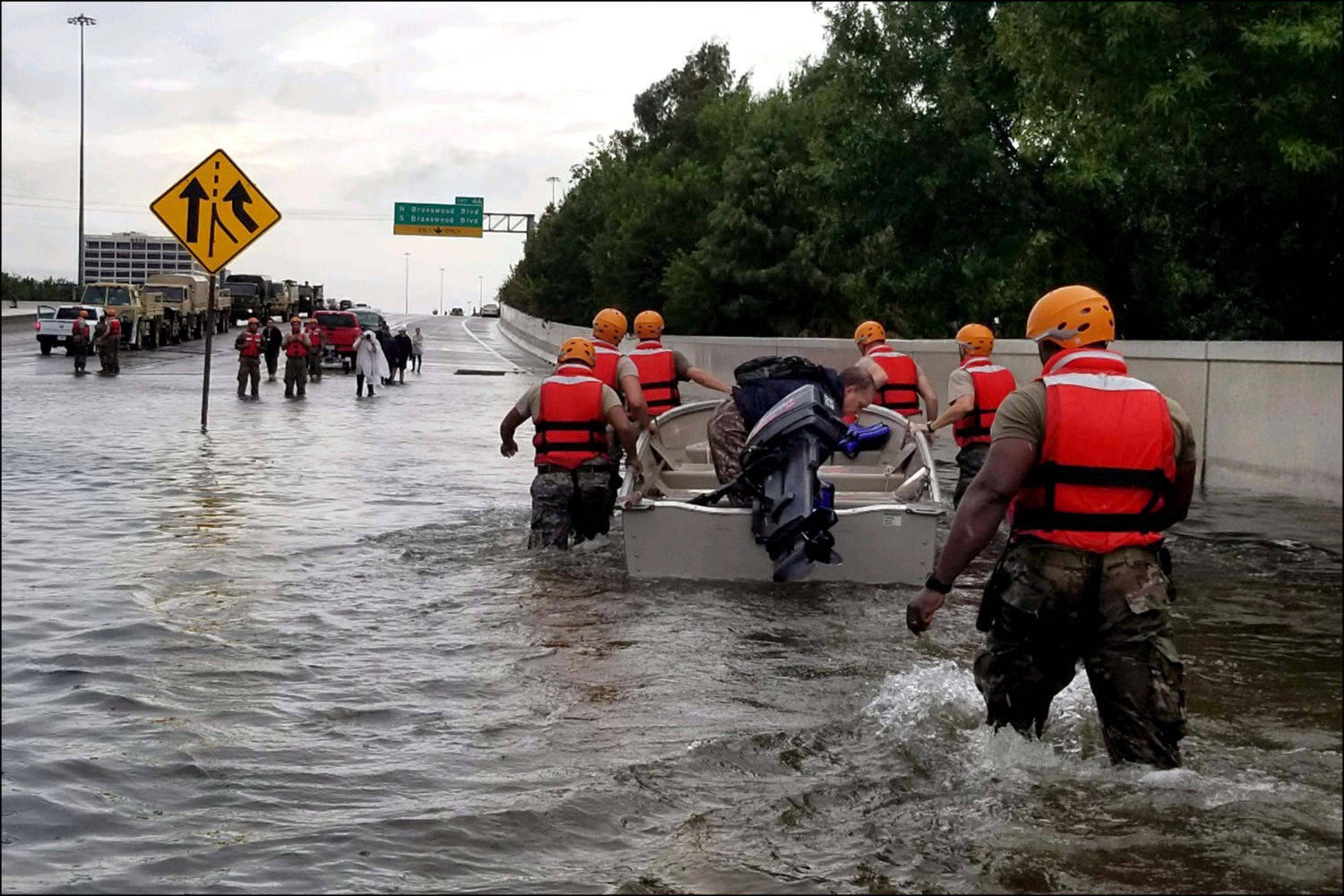 Texas Army National Guard troops participate in Hurricane Harvey relief efforts. (Wikimedia Commons photo)